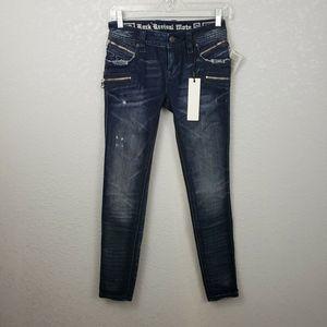 NWT Rock Revival Moto sz 25 Skinny Jeans Cladelle